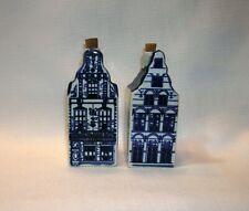 """2 Narrow Canal Row Houses Amsterdam Delft Blue Hand Painted 4"""" Cork Delfts"""