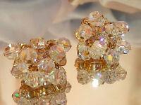 Juliana Vintage 60's  Ice Rhinestones & Crystal AB Dripping Clip Earrings 46my7