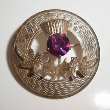 Thistle brooch pin Ward Brothers Sterling Purple Amethyst glass stone Scottish