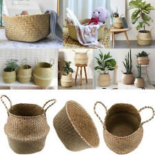 XL Seagrass Belly Basket Plant Pot Laundry Home Decor Storage Organizer US STOCK