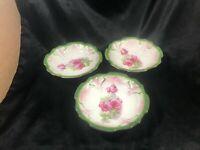 """Set of 3 Green Trim Rose Pattern Vintage Porcelain 5-1/2"""" Dessert Berry Bowls"""