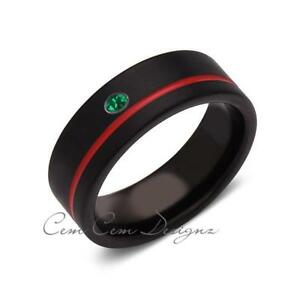 8mm,Green Emerald,Mens Diamond Ring,Black Brushed, Red Groove,Tungsten Ring,Wedd