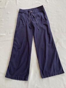 Patagonia Navy Blue Wide Leg Island Hemp Organic Cotton Pants womens 6