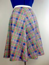 70s Vintage A-Line Midi Flare Skirt High Waist Check Plaid Land Girls Size Uk8