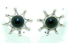 ONYX SOLITAIRE BEADED STARBURST POST EARRINGS SOLID .925 STERLING SILVER 16.1 g