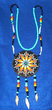 "Fancy 3.5"" diameter Beaded Rosette Necklace w/ Shells 34"" neck loop #03"