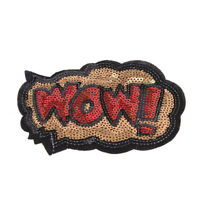 letters Sequins Embroidery Iron sew on patch applique DIY clothing 11*8cm red FY
