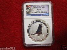 2006 Australia 1 Troy Oz Lunar Year of the Dog NGC  MS69 999 Silver Coin Bullion