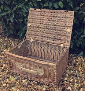 Vintage Style Genuine Large Wicker Hamper Basket Toy Box - Straps & Handle VGC!