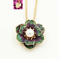Betsey Johnson Green Enamel Pearl Flower Pendant Chain Necklace/Brooch Pin Gift