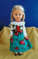 "Vintage 19"" Plastic Jointed Doll in Traditional Dress*German Blonde girl braided"