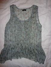 Miss Selfridge pale blue floral, flowery transparent tunic top. Size 12