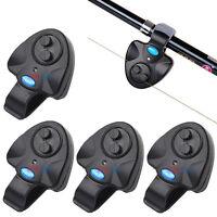 4X Electronic LED Fish Bite Fishing Sound Bell Alarm Alert Clip On Rod Black US