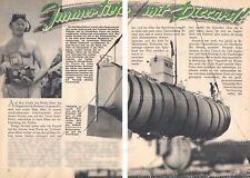 Auguste Piccard Bathyscaph Trieste Tiefsee-U-Boot - Original Bericht von 1954