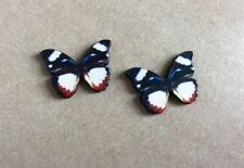 Wood Cabochons, Mini Butterflies,19x27x3mm, 2pcs, Colourful, Jewellery Making