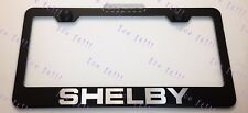 SHELBY Mustang Ford LASER Style Black Stainless Steel License Plate Frame W/ Cap