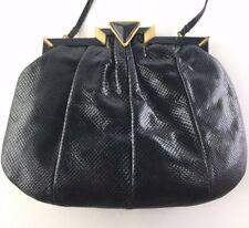 SHARIF Authentic Vintage Black Snakeskin Clutch Crossbody Shoulder Bag Purse USA