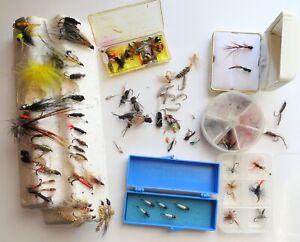 BULK LOT OF 113 FLY FISHING FLIES ~ Wet Flies, Dry Flies, Nymphs, Streamers ...