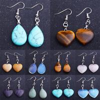 Water Drop Blue Opal Earrings Natural Stone Heart Pendants Women Jewelry Gifts