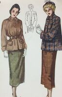 1940's VTG Simplicity Sewing Pattern 2939 Two-Piece Suit Bust 31 Factory Folded