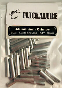 FLICKALURE Aluminium Fishing crimps size 1.0mm x 18mm long packet of 40