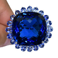 SWISS BLUE TOPAZ OVAL RING SILVER 925 UNHEATED 6.6 CT 23X23 MM. SIZE 6
