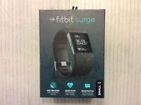 NEW FITBIT SURGE BLACK SMALL FITNESS SUPER GPS WATCH W/ HEART RATE MONITOR