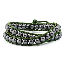 Spotlight Macrame 6mm Hematite Beads Green Leather Cord Multi Wrap Bracelet