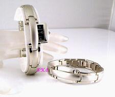 Retro Couture diseñador Matt mire plata titanio pulsera Deslizable Oculta Reloj