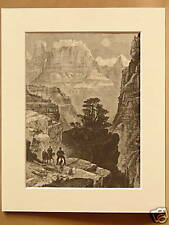 THE NARROWS UTAH USA VERY RARE ANTIQUE MOUNTED ENGRAVING FROM 1876 PUBLICATION