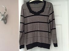 Ladies jumper by dash size 16. Black and taupe stripe
