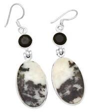 Zebra Jasper Black Onyx Earrings Solid 925 Sterling Silver Jewelry IE21927
