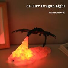UK Rechargeable 3D Print Dragon Shape Night Light LED Table Desk Lamp Room Decor