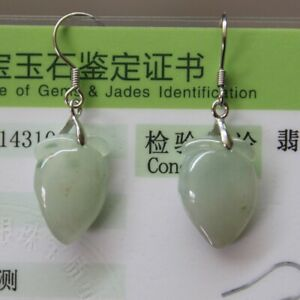 CERTIFIED Natural Grade A Untreated Icy Jadeite JADE Earrings S925 Silver #060