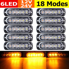 10X 18W Amber 6 LED Strobe Lights Car Emergency Flashing Warning Beacon 12V-24V