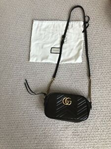 authentic GUCCI MARMONT camera bag BROWN Crossbody