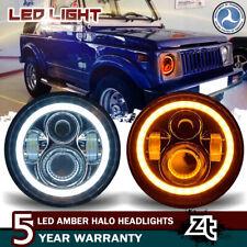 "Fit Suzuki Samurai SJ410 7"" LED Headlights DRL Halo Hi/Lo Beam Projector A Pair"