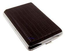 Cigarette Case - Mysmokingshop Brown Design Leather Chrome King Size - NEW ksls2