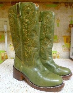 Women's FRYE Campus Western Floral Boots #77020 - GREEN,  Size 7 1/2 B