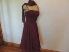 Mori Lee size 11/12 wine red belted & scarf tea length Gorgeous dress