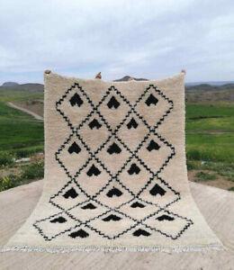 Beni Ourain Rug Handmade Black&White Azilal Berber Moroccan Carpet 9ft x 6ft