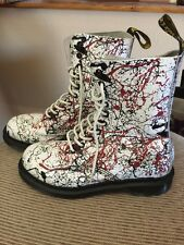 DOC MARTENS WHITE PATENT LEATHER AIR WAIR SIZE 8 WOMENS 1460  8-EYELET BOOTS