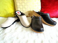 Beige on a black sole or Chocolate/Natur Wooden Clogs Sizes Unisex Swedish style
