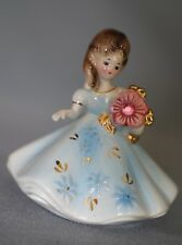 Josef Originals Girl in Blue Dress Figurine With Flowers with Original Label