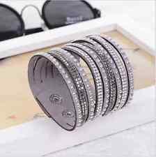 Bracelet Neuf Multi Rangs Strass Gris Pour Femme Fille Fashion Bangle Wrap Mode
