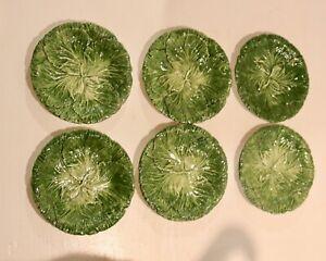 Vintage Green Cabbage Relief Dessert Plates