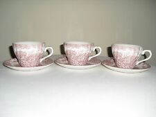 "CHURCHILL ""BROOK"" PINK / RED Set of 3 CUPS & SAUCERS - Staffordshire England"