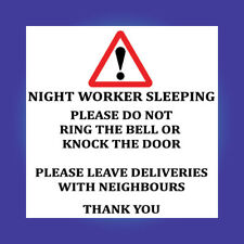 Night worker Sleeping Do Not Knock Ring shift Sign Sticker Vinyl Delivery D136