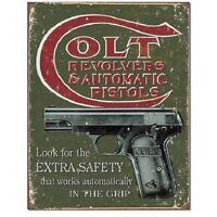 COLT Revolvers Pistols Extra Safety Distressed Retro Wall Decor Metal Tin Sign