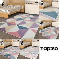 Kurzflor Teppich für Kinder Jugend Designer Teppich Geometrisch Pastell NEUHEIT